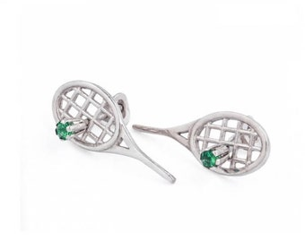 Sterling silver Tennis racket earrings