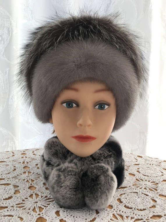 dd24fc557c7 Real mink fur hat Fox pom pom Mink fur Pom pom hat Real fur