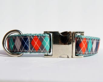 Preppy Dog Argyle Swag - 3/4 Inch Webbing Quick Release Dog Collar - See Item Details for Sizing