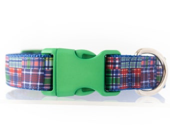 Prepster Madras 3/4 or 1 Inch Webbing Quick Release Dog Collar - See Item Details for Sizing