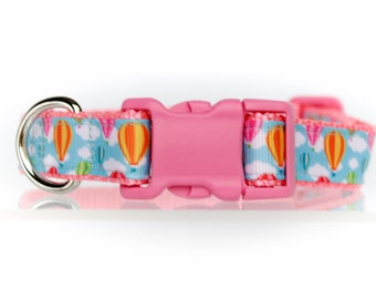 Hot Air Balloons  3/4 or 1 Inch Webbing Quick Release Dog Collar - See Item Details for Sizing