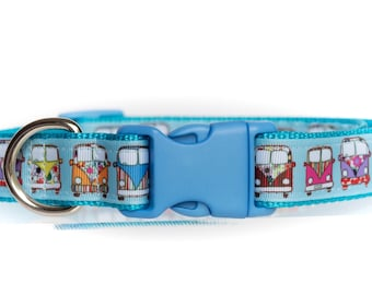 Boho Buses - Blue - 1 Inch Webbing Quick Release Dog Collar - See Item Details for Sizing