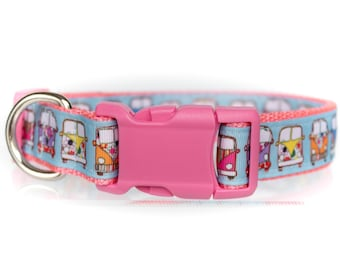 Boho Buses - Pink and Blue - 1 Inch Webbing Quick Release Dog Collar - See Item Details for Sizing