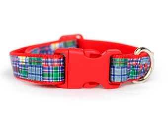 Red Madras- 3/4 or 1 Inch Webbing Quick Release Dog Collar - See Item Details for Sizing