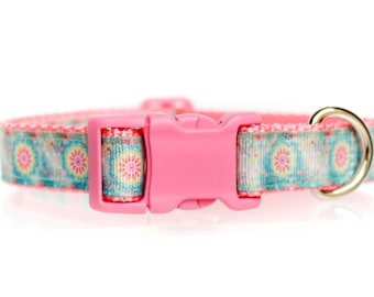 Mad  for Mandalas  3/4 or 1 Inch Webbing Quick Release Dog Collar - See Item Details for Sizing