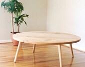 Round Scandinavian Coffee Table, Maple Coffee Table, Walnut Coffee Table, Cherry Coffee Table