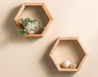 Set of 2 Honeycomb Shelves, Hexagon Shelves