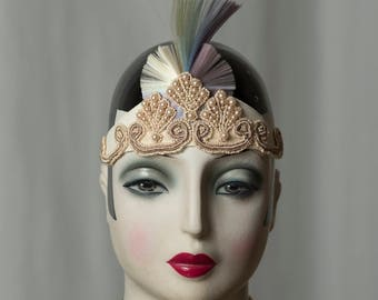 Beautiful headdress, perfect for a glamorous Gatsby wedding, Flapper in vintage style, inspired by 20s, 20s