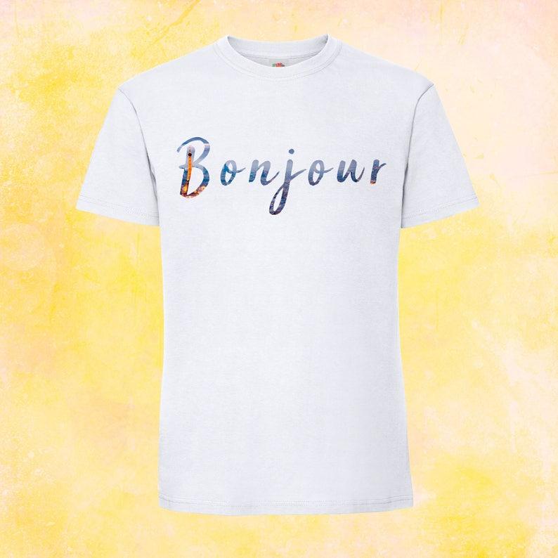 16836accf48cd Bonjour Tshirt French t-shirt Paris fashion graphic hipster   Etsy