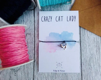 Crazy cat lady gift Gift for cat lover cat charm bracelet gift from the cat