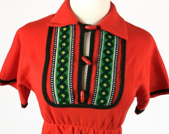 Vintage Retro 70's Red Green Folk Embroidered Tick-a-Tee Children Blouse Top