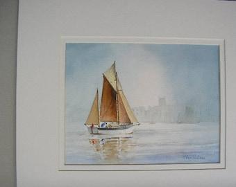 Cornish Yawl on a Misty Morning.