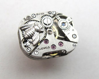 Bee Brooch, vintage watch movement, Steampunk pin brooch with sterling silver bee
