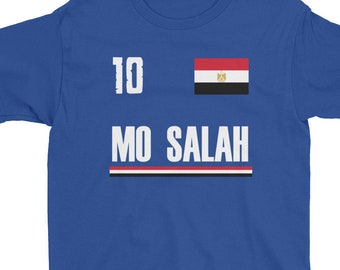 892518cb7 Kids Mo Salah Egyptian Soccer Jersey Shirt - Egypt Football Shirt 2018  World Cup Russia Unisex T-Shirt Youth Short Sleeve T-Shirt