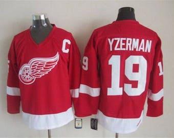 61a709033 90s Reworked Detroit Red Wings Steve Yzerman  19 Custom Hockey Jersey Red