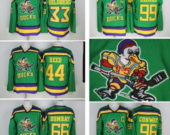 d743fd71e 90s Reworked Mighty Ducks Movie Custom Hockey Jersey Green