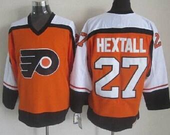 cb52e7f805a Reworked Philadelphia Flyers Ron Hextall  27 Custom Hockey Jersey Orange
