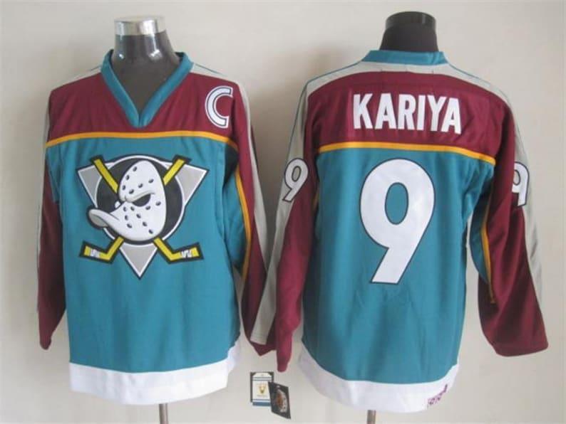 quality design 1d2fb 2a3fd 90s Reworked Anaheim Ducks Mighty Ducks Paul Kariya #9 Custom Hockey Jersey  Teal Purple, Vintage Paul Kariya Jersey, Mighty Ducks Jersey