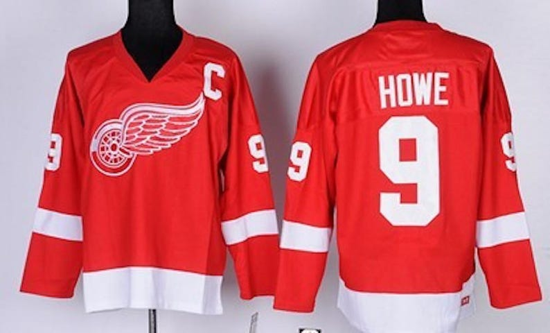 huge selection of 9a3bd 0a3ae 90s Reworked Detroit Red Wings Gordie Howe #9 Custom Hockey Jersey Red,  Vintage Gordie Howe Jersey, Detroit Red Wings Jersey, Vintage