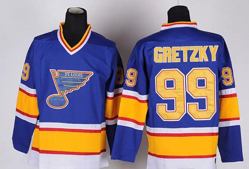 huge discount 46d58 deb2f 90s Reworked St Louis Blues Wayne Gretzky #99 Custom Hockey Jersey Blue  Yellow, Vintage Wayne Gretzky Jersey, St Louis Blues Jersey, Vintage