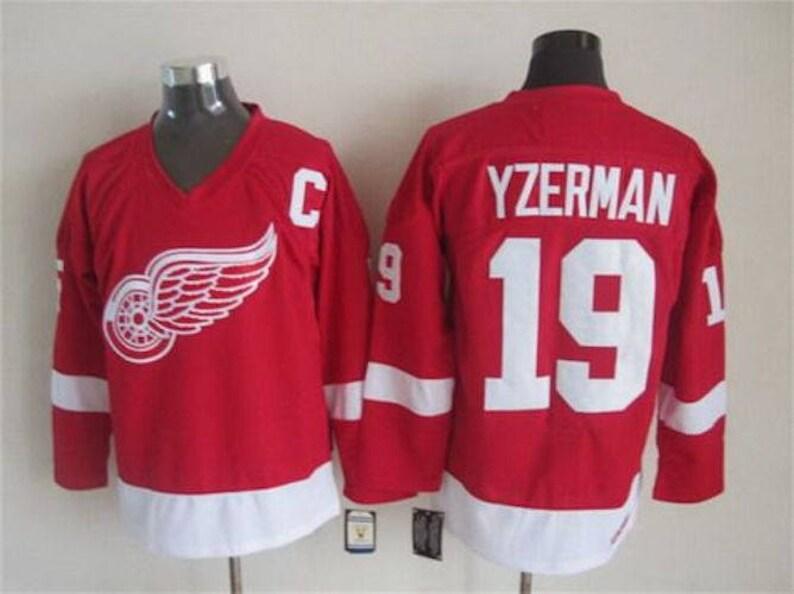 d06ae9080ee 90s Reworked Detroit Red Wings Steve Yzerman 19 Custom Hockey