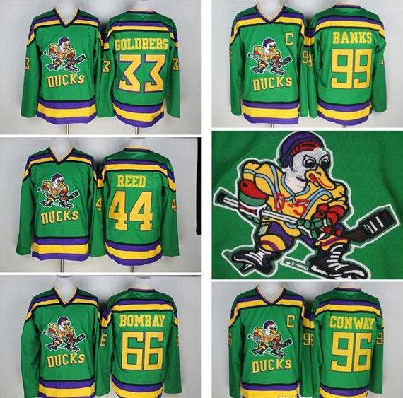 brand new cfe2b 8d64c 90s Reworked Mighty Ducks Movie Custom Hockey Jersey Green, Banks, Conway,  Reed, Bombay, Goldberg, Kariya, Selanne Mighty Ducks Jersey Green