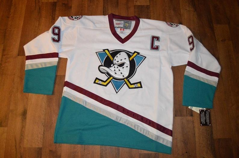 wholesale dealer bd1da 9b220 90s Reworked Anaheim Ducks Mighty Ducks Paul Kariya #9 Custom Hockey Jersey  White, Vintage Paul Kariya Jersey, Mighty Ducks Jersey