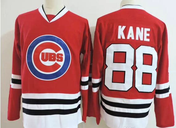 reputable site c2cc9 7c6ad Reworked Chicago Cubs Chicago Blackhawks Custom Patrick Kane #88 Hockey  Jersey Mens, Chicago Cubs Hockey Jersey, Patrick Kane Jersey Red