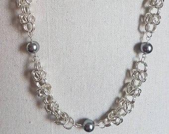 Swarovski Pearl Necklace - Swarovski Crystal Grey Glass Pearl and Byzantine Chain