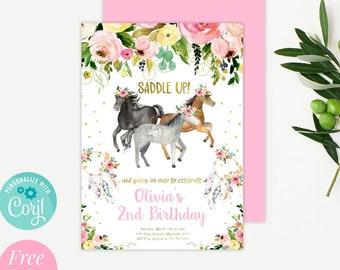 Editable Horse Birthday Invitation Horse Invitation Horse Party invitation Horse Birthday Party Invite INSTAND DOWNLOAD
