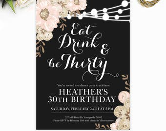 30th Birthday Invitation Eat Drink And Be Thirty Thirtieth Invite For Her Dirty