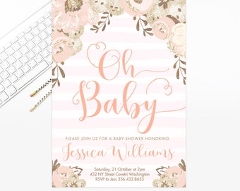 Baby Shower Invite, Baby Shower Invitation, Floral Baby Shower, Blush Baby Shower, Girl Baby Shower, pink watercolor