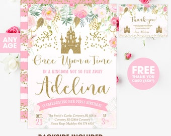 Princess Invitation Birthday Pink And Gold Party Girl 1st