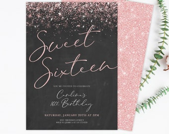 Sweet 16 Invitation Sixteen Invitations Gold Rose