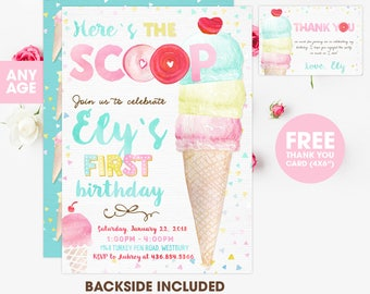 Ice Cream Invitation Birthday Invites Party Social Printables Personalized Digital