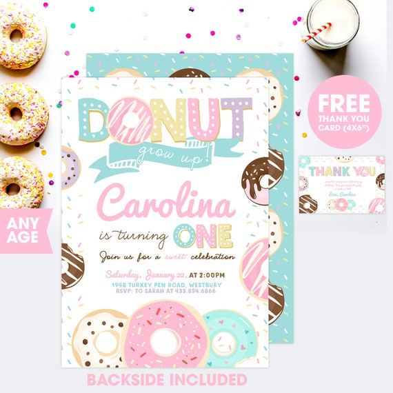 Donut Birthday Invitation Invite
