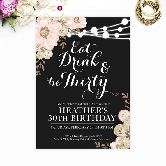 30th birthday invitation eat drink and be thirty thirtieth etsy