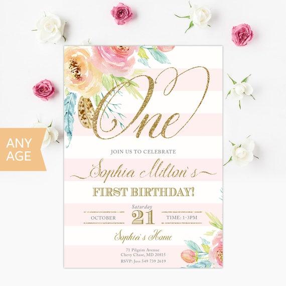 First Birthday Invitation Floral Invitations