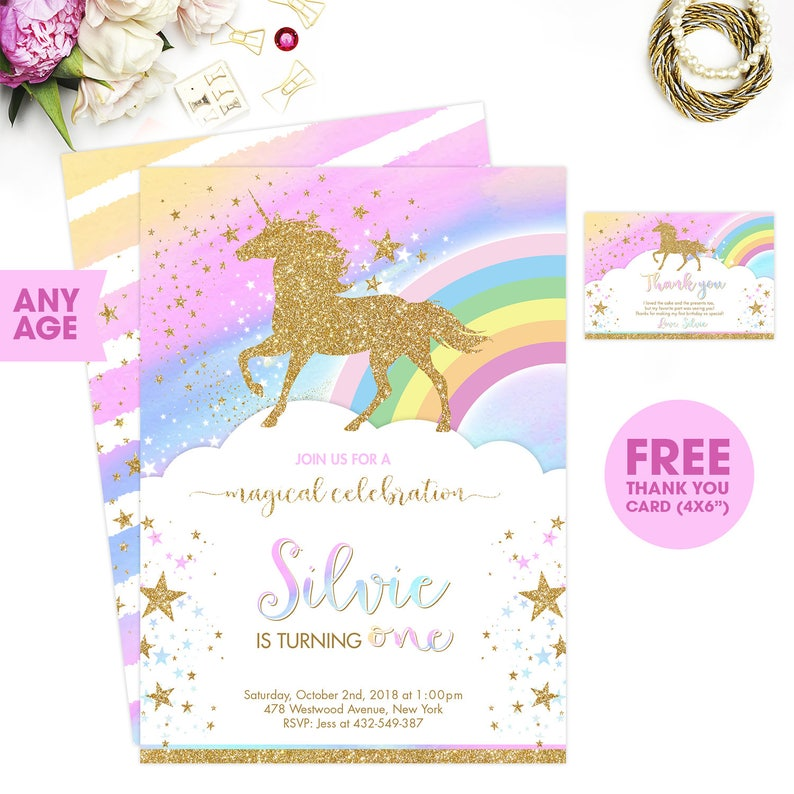 Rainbow Unicorn Birthday Invitation Magical Party