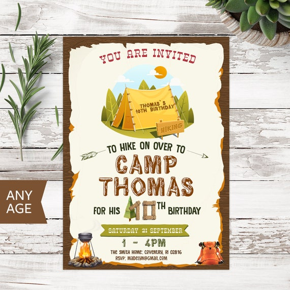Camping invitation camping birthday camping party camping etsy image 0 filmwisefo
