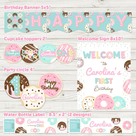 Donut Birthday Party Package First 1st Decoration