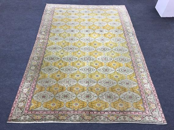 6.5x9.5 ft  Gold and Pink Overdyed Vintage Rug,  Vintage Rug, Turkish Oushak Rug, Decorative Rug, Aztec Rug, Floor Rug, Area Rug