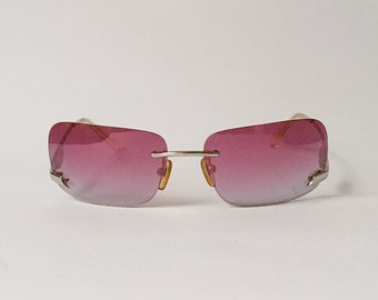 15d5ffe3b9 FLASH Vintage Square Pink Mirrored Lenses Sunglasses 00s - Designer  Sunglasses