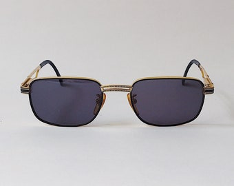 7fea53683 Police Vintage Square Sunglasses Metal Frame Gold & Black 90s - Designer  Sunglasses