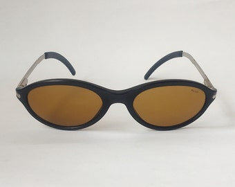 1949dc531 Police Vintage Oval Sunglasses Black & Metal Frame Yellow Lenses 90s - Designer  Sunglasses