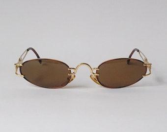 Vogart de Police lunettes de soleil Vintage ovale cadre en métal or    tortue des années 90 - lunettes de soleil 1aa962de35f5