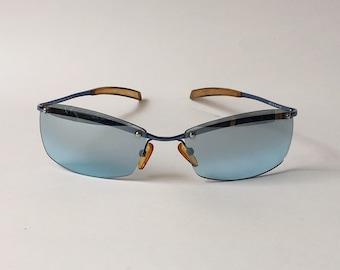 2cb0f748e5 DEVALENTINI Vintage Blue Lenses Sunglasses 00s - Designer Sunglasses