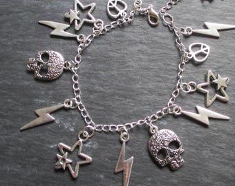 Handmade Punk Gothic Lightening Bolt Skull Charm Bracelet in silver