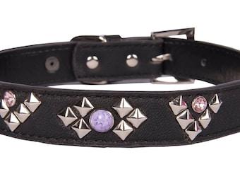 Large Black leather studded collar