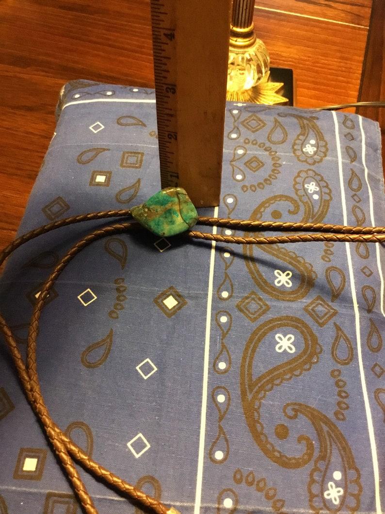 Vintage BIG Raw Turquoise Bolo Tie